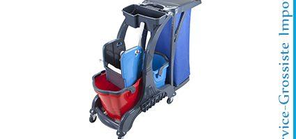 Chariot double 2 Seaux+presse+panier+sac