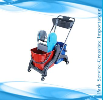 Chariot double 2 Seaux+presse+panier